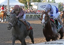 Shackleford (KY) places behind Dialed In (KY) with jockey Julien Laparoux in the Florida Derby